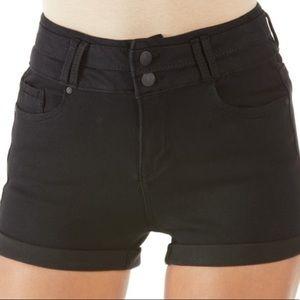 Black Denim High Rise Shorts in jet black size 13